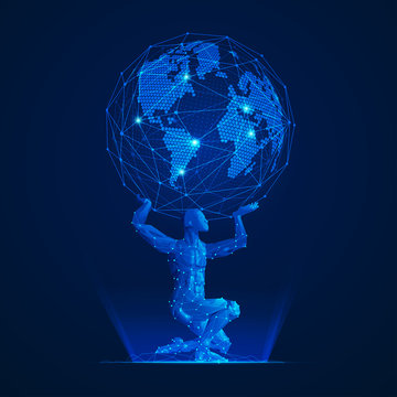 wireframe polygon man carrying globe in futuristic style, graphic of atlas in modern abstract style