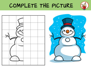 Complete the picture of a snowman. Copy the picture. Coloring book. Educational game for children. Cartoon vector illustration