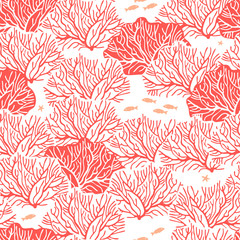 Графический бесшовный узор на белом фоне с изображением кустов кораллов, с чередованием веток кораллового цвета и кустов кораллового цвета с белыми ветками.