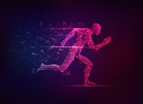 concept of sport science, polygon male athlete running with lighting effect