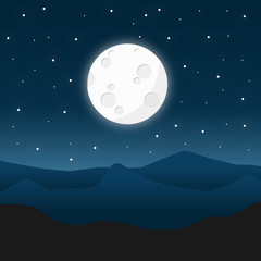 Full moon at night landscape vector design illustration