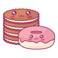 sweet donuts and cookies kawaii characters