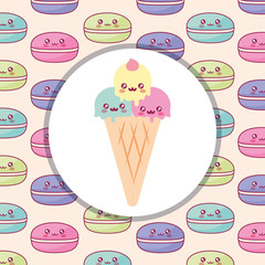 cute ice cream kawaii character