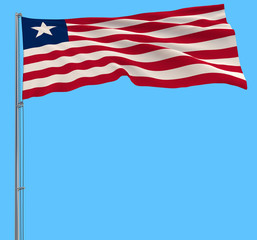 Isolate flag of Liberia on a flagpole fluttering in the wind on a blue background, 3d rendering.