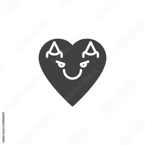 Devil heart face character emoji flat icon, vector sign