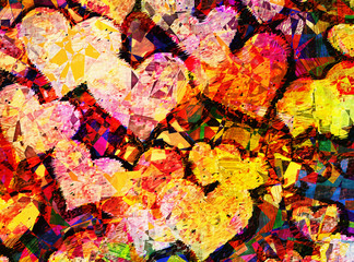 patchwork style picture of many hearts