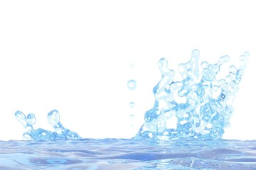 3D illustration of beautiful water splash with drops mockup isolated on white, for design purposes