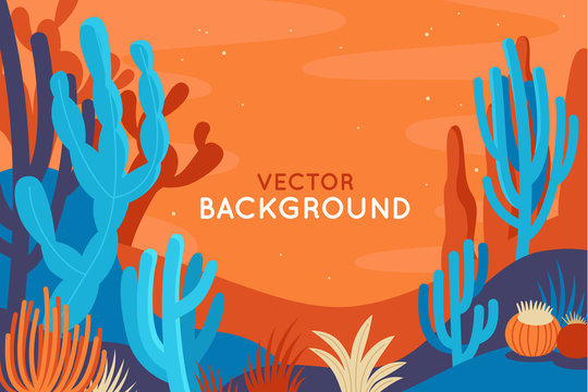 Vector abstract illustration in flat linear style and bright colors -  nature landscape illustration