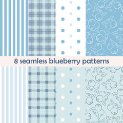 Set of 8 seamless patterns. Blueberry collection
