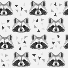 Seamless pattern with polygonal raccoon