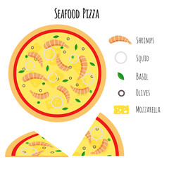 Seafood pizza with ingredients