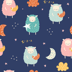 Seamless pattern with cute sheep and stars. Kids bedtime print. Vector hand drawn illustration.