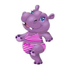 Funny Hippo. Hippopotamus Isolated on White Background