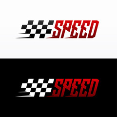 Fast Speed logo designs concept vector, Simple Racing Flag logo template