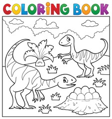 Coloring book dinosaur subject image 2