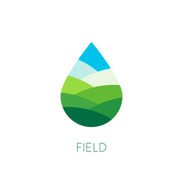 Nature water sign. Organic food and drink label. Farm stamp. Field logo template. Drop vector icon. Agriculture. Eco pieces of nature emblem. Healthy lifestyle. Fresh drink product. Vectors.