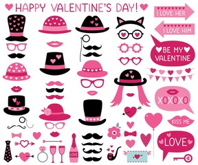 Valentines Day party props (hats, lips, mustaches)