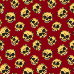 Halloween seamless pattern of skulls in Mexican style. Vector illustration.