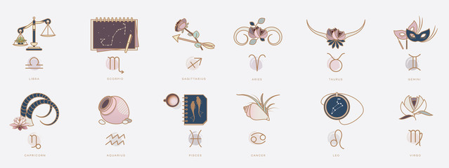 Horoscope symbols in feminine style, zodiac signs