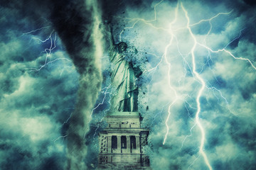 statue of liberty during the heavy storm, rain and lighting in New York, creative picture