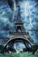 Eiffel tower during the heavy storm, rain and lighting in Paris, creative picture