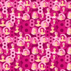 International Women s Day. Vector seamless pattern with women faces and 8.