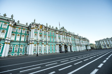 Palace Square or Winter Palace and Hermitage Museum with road lines and blue sky