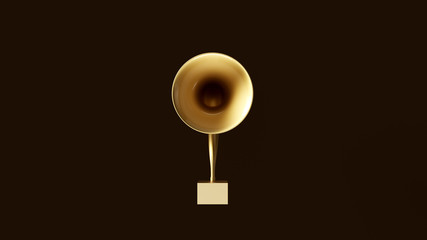 Gold Digital Gramophone 3d illustration 3d render