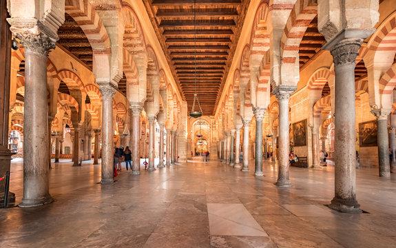 Cordoba, Spain. Circa December 2018. Interior view of the Mosque cathedral of Cordoba.
