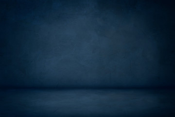 blue cement studio room background, horizontal blank concrete wall