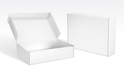 Obraz Realistic Open And Closed Blank Packaging Boxes - fototapety do salonu