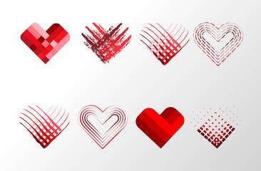 Decorative Valentines hearts set. Happy Valentine s Day kit