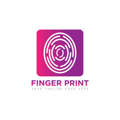Finger print concept logo and icon design template