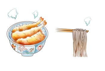蕎麦,天丼,