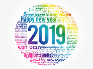 2019 Happy New Year in different languages, celebration word cloud greeting card