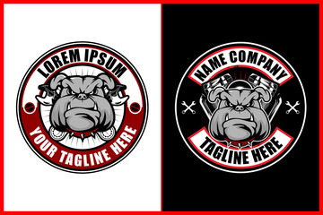 angry biker bulldog head cartoon character with wrench and V-twin engine vector logo template