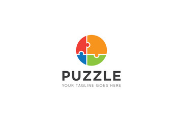 puzzle logo and icon vector design template