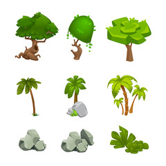 vector set of cartoon trees and stones