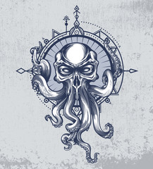 The Kraken creature with skull head on grunge background and wind rose in boho style. Vector illustration in engraving technique for posters, t-shirt prints, tattoo, labels and stickers.