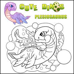 cartoon cute dinosaur plesiosaurus coloring book funny illustration