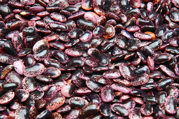 Purple beans are sold in the market
