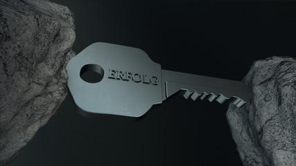 Schlüssel zum Erfolg klemmt zwischen Steinen fest