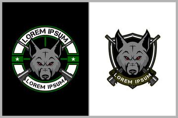 amazing animal cartoon character, wolf head with cross firearms rifle military theme vector badge logo template