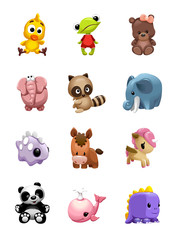 vector set of сute friendly toys of different animals