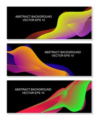 Set of modern abstract background on black. Cool gradient shapes composition. Futuristic design. Vector EPS10.