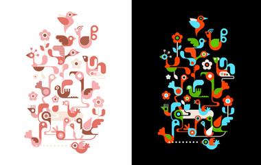 Birds on the tree vector illustrations