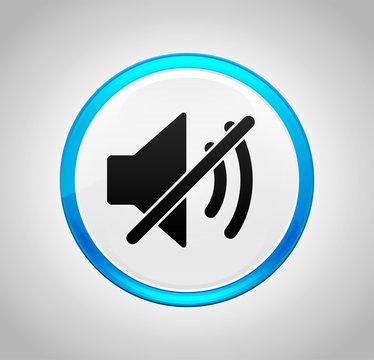Mute speaker icon round blue push button