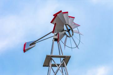 Upwards View of a Metal Windmill