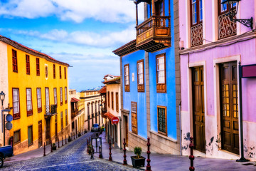 landmarks of Tenerife - traditional colorful town La Orotava. Canaray islands of Spain