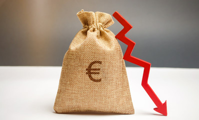 Money bag with a euro sign and an arrow down. The concept of reducing profits. Drop in revenue. Low salary. Financial and economic crisis. Recession family budget. Unsuccessful business.